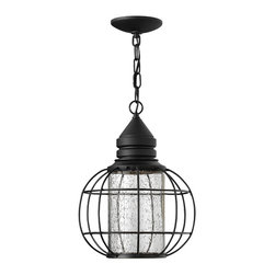 Hinkley Lighting - NewCastle Hanger Outdoor - The New Castle collection gives this traditional lantern design a modern twist with a recessed light source inside a seedy glass cylinder. The solid aluminum construction in a durable powder coat Black finish is Dark Sky compliant.