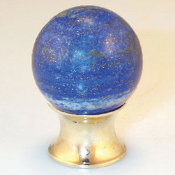 Lapis Cabinet Knob - The Lapis Cabinet Knob features natural blue lapis stone highlighted with white and golden flecks. Complete the set with other lapis hardware.