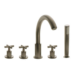 """MR Direct - MR Direct 716-BN Brushed Nickel Widespread Roman Tub Faucet with Body Spray - The 716-BN Roman Tub Faucet with Body Spray is a wide spread tub faucet that is available in a brushed nickel, oil-rubbed bronze or chrome finish. This 3-hole faucet has a 6""""-24"""" centerset and comes with a body spray with an 84"""" metal hose. The dimensions for the 716-BN are 12 1/8"""" tall with a 9"""" spout reach and it is ADA approved. The faucet is pressure tested to ensure proper working conditions and is covered under a lifetime warranty. The 716-BN faucet will add functional beauty to any bathtub."""