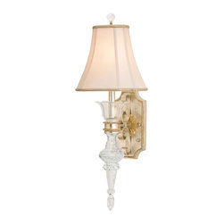 Currey & Company - Currey & Company Maralago Wall Sconce CC-5415 - Traditional crystal wall sconce with silver and gold accents. The antique white shantung shade is included. Wall sconces are sold as pin-ups which allows them to be either hardwired or plugged in.