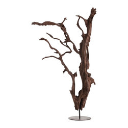 Kathy Kuo Home - Kazu Root Mangrove Tree Iron Floor Sculpture - The windblown look of this mangrove tree floor sculpture will add elements of mystery and whimsy to your modern home. Standing tall yet defiantly sturdy, this striking piece will immediately draw the eye of all who enter. Place in your industrial loft's common area to bring in a touch of contrast from the natural world.