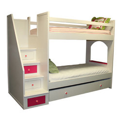 Roxanne Bunk Bed - Flowers, pink and space for a friends, what more could a little girl ask for? Twin over twin bunk bed features built in storage steps accented with flower knobs, a pull out trundle for slumber party or storage needs and the lower bunk has its own look out window with ledge. Bunk bed is made using quality craftsmanship and is constructed from solid hardwood Poplar with a lightly distressed white finish and hot pink accents.