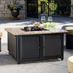 Uniflame Granite Table Propane Fire Pit - Seat friends and family in style around the Uniflame Granite Table LP Fire Pit and enjoy your backyard like never before. This liquid propane-fueled fire pit table is topped with 2 gorgeous slabs of polished granite and surrounded by an elegant wicker body. Flames jump out of the center-mounted firebowl filled with lava rocks and artificial logs while drinks and hors d'euvres rest safely on the countertop. It's fueled by a standard 20 lb. propane tank (not included) conveniently hidden below on an easy slide-out drawer. The removable wicker sides make a relaxed outdoor vibe and make it easy to move clean or access the gas lines. Your guests will never expect a warming fire to come from the middle of the table but they'll be thrilled it did. Not recommended for use on wooden surfaces. About Blue Rhino/Uniflame/Endless Summer:Blue Rhino Global Sourcing Inc. is America's #1 propane tank exchange brand but it doesn't stop there. Blue Rhino is a leading designer and marketer of outdoor appliances and fireplace furnishings. These products include barbecue grills outdoor heaters outdoor fireplaces mosquito traps and fireplace furnishings. You'll find a Blue Rhino product in the middle of half a billion barbecue events nationwide every year. They come under various brand names including UniFlame Endless Summer and SkeeterVac.