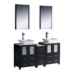 Fresca - Torino Double Sink Bathroom Vanity w Vessel Sinks Soana Brushed Nickel - 2 Pcs. - Choose Included Faucets: Soana Brushed Nickel - 2 Pcs.P-traps, Faucets, Pop-Up Drains and Installation Hardware Included. Single Hole Vessel Faucet Mounts (Faucets Shown In Picture May No Longer Be Available So Please Check Compatible Faucet List). No overflow. Sink Color: White. Finish: Espresso. Sink Dimensions: 16 in. x16 in. x5 in. . Mirror: 20.75 in. W x 31.5 in. H x 1.25 in. D. Materials: Plywood w/ Veneer, Ceramic Sinks. Vanity: 60 in. W x 18.13 in. D x 35.63 in. HFresca is pleased to usher in a new age of customization with the introduction of its Torino line. The frosted glass panels of the doors balance out the sleek and modern lines of Torino, making it fit perfectly in either Town or Country decor. Available in the rich finishes of Espresso, Glossy White and Light Oak, all of the vanities in the Torino line come with either a ceramic vessel bowl or the option of a sleek modern ceramic undermount sink.