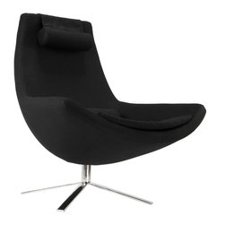 Atom Chair in Black - Go back to the future with this swanky Atom Chair. Featuring a bold retro-modern shape in a deep charcoal hue, it's a statement piece that's got something to say.