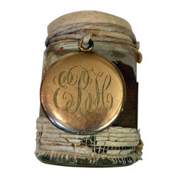 locket embellished vase - Everything on this wonderful little vase is vintage. The locket is gold fill and monogrammed.