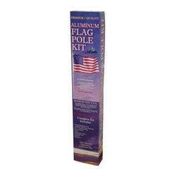 "Heath - Aluminum Flag Pole Kit - 20 foot Aluminum Flag Pole Set comes complete with a 2"" satin finish aluminum pole ground box cleat aluminum truck with gold ball cap and halyard. Includes deluxe quality 3' X 5' poly/cotton American flag. Flag is an all-dyed design with rich colors. Reinforced double-stitched fly end to resist fraying. Our longest lasting flag for everyday use. Flag is proudly made in the U.S.A."