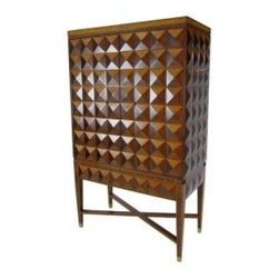 Spectacular 3 Dimensional Marquetry Bar Cabinet - USA 1980's Amazing Bar or Media Cabinet covered in 3 dimensional pyramids of Rosewood, Satinwood, and Bleached Mahogany, raised on a console base with cross-stretchered and tapering marquetry legs terminating in brass sabots. Base has a single, matching drawer. Interior is fitted with an adjustable shelf.