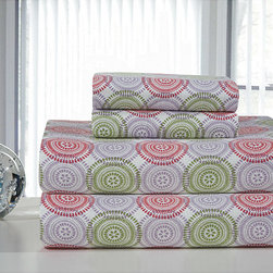 None - Starburst Printed Flannel Sheet Set - This cheerful flannel sheet set will brighten your mood on a cold night. The colorful pattern and soft fabric make it a perfect choice for both children and adults, and the warm material will chase away winter chills as you slip between the sheets.
