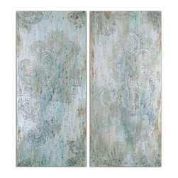Uttermost - Hint Of Paisley Hand Painted Art, Set of 2 - This artwork is hand painted on canvas then stretched over a wood frame. Due to the handcrafted nature of this artwork, each piece may have subtle differences.
