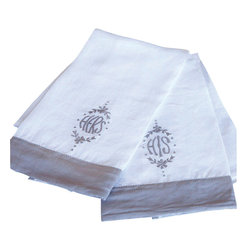 His/Her Hand Towels - At home in any bath, these His and Hers Hand Towels are the final touch of homey charm over a vintage towel rack or against a transitional colored wall.  Made of traditional white linen with deep flange trim in dove and embroidery to match, the hand towels have a sense of sweetness made more mature by the surpassing fineness of the stitched motif, which includes a victorious laurel wreath and the possessive words in Grecian capitals.