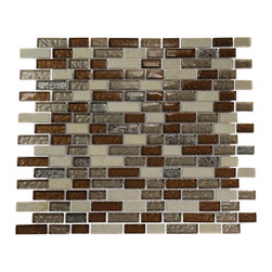 "GlassTileStore - Brick Pattern Leather Boot Brown Blend 1/2"" X Random"" Marble & Glass T - BRICK PATTERN LEATHER BOOT BROWN BLEND 1/2"" X Random"" GLASS TILE  This striking combination of the light emperidor with the medium brown and silver glass and silver and brown foil stamped glass creates a relaxing and stylish backsplash to any room. The wavy polish finish gives a distinctive appearance; great to use for the bathroom, kitchen installation.     Chip Size: 1/2"" x Random   Color: Light Emperidor, Metallic Peach, Metallic Bronze, Metallic Brown-Silver   Material: Emperidor, Glass   Finish: Polished   Sold by the Sheet - each sheet measures 12"" x 12"" (1sq. ft.)   Thickness: 8mm       - Glass Tile -"