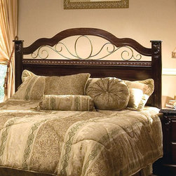 Standard Furniture - Headboard Panel with Scrolled Metal Accents i - Architectural elegance with intricate carvings and interesting detail. Simulated marble tops illustrate modern style and sophistication. Simulated antique brass color grills in the center of Sorrento's headboard. French dovetail construction throughout enhances durability. Beautiful simulated Olympus brown finish. Rich faux marble stone tops on all case pieces present attractive. Wood products with simulated wood grain laminates. 62.25 in. W x 54.5 in. H (46 lbs.)The Sorrento collection captures fashion and class through meticulous craftsmanship and attention to detail.