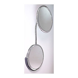 """Zadro - Goose Neck Vanity and Wall Mirror - Get a closer, clearer view with the Triple Vision Gooseneck Vanity Mirror. A make-up mirror is an absolute must have for any woman. Looking your best is easy when you have a magnified mirror at your side. It makes doing your hair and make-up easier than ever before. The Triple Vision Gooseneck Vanity Mirror features three premium quality magnification mirrors. One mirror features a 10x magnification mirror on one side, and a 5x magnification mirror on the other, that allows you to see up-close and in detail, allowing for easy make-up application. The other mirror features a normal, 1x magnification mirror that is great for checking hair and make-up. The mirror can be used as a vanity or wall mounted mirror with the patented slide-on suction cup mounting bracket (included). Just insert one of the mirrors into the bracket, and use the suction cups to mount it on almost any smooth, flat surface. The Triple Vision Gooseneck Vanity Mirror is available in a flawless Chrome finish. Features: -Flexible Gooseneck adjusts to almost any angle for easy viewing. -Exclusive Vanity & Wall Mount Design with patented slide on Suction Cup Mounting Bracket. -Suction cups included. -10X/5X/1X Magnification Triple Vision Mirror. Specifications: -Mirror surface dimensions: 6.2%"""" Diameter. -Overall dimensions: 11"""" H x 6.25"""" W x 6.25"""" D. -90-Day warranty against initial defects in material, mechanical, electrical and/or cosmetic workmanship."""