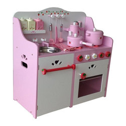 Berry Toys - Berry Toys My Strawberry Wooden Play Kitchen Brown - WJ279058 - Shop for Cooking and Housekeeping from Hayneedle.com! The Berry Toys My Strawberry Wooden Play Kitchen has everything your little chef needs to whip up something sweet. This adorable wooden play kitchen is pink and white with strawberry floral and heart-shaped accents. The counter has a range and removable sink (for easy cleaning). The dual-rack oven has a windowed door that opens by pulling on a cute strawberry knob. The backdrop has hooks and shelves to store accessories. The kitchen includes a huge accessory set with pans pantry containers cooking utensils a teapot and more! Hang the included kitchen towel on the towel rack for the finishing touch. If your little sweetie likes to play pretend delight her with the Berry Toys My Strawberry Wooden Play Kitchen.About Berry ToysBased in Chino Hills California Berry Toys is a leading manufacturer of children's toys. Berry Toys aims to educate children through play and their toy selection includes play kitchens play foods musical instruments play tools and more. If you want affordable pricing quality customer service and educational toys that are manufactured according to the highest standards Berry Toys can deliver.