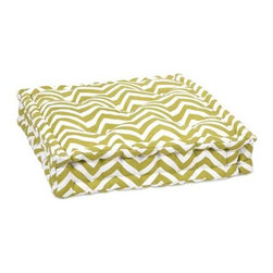 Green Chevron Floor Cushion - This functional floor cushion features a fun green chevron print fabric with tufted details.