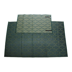 Sands Rug Co. - Homesuite Outdoor 5x8 Rug with Bonus 3x5 Runner Honeycomb Dark Green - These recycled indoor/outdoor rugs are trendy and durable to give your space an update without any extra hassle. These rugs are so light-weight it is easy to roll and go, and they feature velcro straps to keep them rolled up for easy travel. As a bonus, when you purchase this 5x8 rug, you will recieve a matching 3x5 rug!
