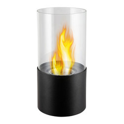 "Ignis Products - Circum Black Tabletop Ventless Ethanol Fireplace - Add coziness and warmth to any room with the beauty of this Circum Black Tabletop Ventless Ethanol Fireplace. This tabletop unit is sized just right to give you the heat you need while entertaining friends, reading a good book, or just hanging out. This small fireplace has a round glass design with an 0.5-liter ethanol burner insert that burns approximately two hours between refills and operates at 2,000 BTUs. Place this free standing fireplace anywhere in the home where you want to add a little heat. The beauty of this ventless fireplace is that you don't need a chimney or gas or electric lines to make it work, and you can move this lightweight unit wherever you want your heat to go. Dimensions: 11.5"" x 6.5"" x 6.5"". Features: Tabletop, Freestanding - can be placed anywhere in your home (indoors & outdoors). Round Glass Barrier. Ventless - no chimney, no gas or electric lines required. Easy or no maintenance required. Capacity: 0.5 Liter. Approximate burn time - 2 hours per refill. Approximate BTU output - 2000."