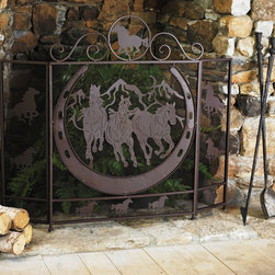 Running Horses Fireplace Screen - In the winter months, a crackling fire is usually the center of attention, but that doesn't mean you should neglect the fireplace when the warm weather rolls around. All eyes will be on your fireplace this summer with a metal fireplace screen featuring running horses and a dark rust finish. I love Western decor because you can throw in exciting pieces like Native American prints, cowboy art and horse tack.