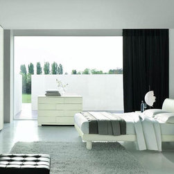 Made in Italy Wood Contemporary Modern Bedroom Sets with Extra Storage - Italian white wooden bedroom set. This white colored contemporary modern bedroom set features solid wood construction and lights that are recessed in the headboard.