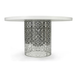 Nixon Dining Table, White - Go for glam with the Nixon dining table. Metal meets wood to create a luxe table that seats six.