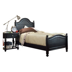 American Drew - American Drew Camden-Dark 4-Piece Panel Bedroom Set with Mirror in Black - The Camden-Dark accents simple forms with quiet traditional references, gentle curves and a beautiful rustic black finish that lets the character of the wood show through. The brushed nickel finish hardware adds even more character to Camden. This collection will work great in most any setting. Create an urban rustic loft, a classic antique look or a mountain vacation home.