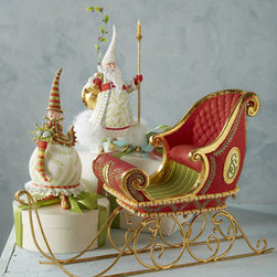 """Patience Brewster - Patience Brewster Santa's Sleigh Figure - The Dash Away team work together to pull this magnificent sleigh figure. It includes lots of extra detail from the tufted seat, fine vine painting, and monograms to the bells on the swirly gold-leaf runners. From Patience Brewster. Handcrafted of resin. Hand painted. 18""""L x 12""""T. Imported."""