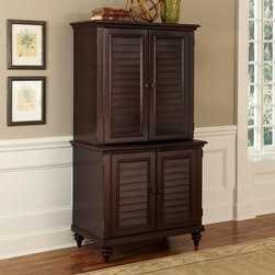 Home Styles - Home Styles Bermuda Espresso Compact Computer Cabinet and Hutch Dark Brown - 554 - Shop for Credenzas and Computer Hutches from Hayneedle.com! The Home Styles Bermuda Espresso Compact Computer Cabinet and Hutch can hold virtually everything a home office needs in one space-efficient beautifully styled furnishing combo. The shutter-style doors and turned legs are the most visible signs of its tropical British colonial design but the interior organization is what really sets this duo apart. The cabinet contains a printer shelf file drawer (letter or legal-sized) two shelves (one adjustable) a storage drawer and pull-out keyboard tray. The hutch offers customized storage in one large space including two small movable vertical/horizontal CD towers/organizers and a movable three-slot letter organizer of versatile open shelves. The hutch s large fixed shelf is sized for a computer monitor and features a back cutout for cord access.About Home Styles?Home Styles is a manufacturer and distributor of RTA (ready to assemble) furniture perfectly suited to today's lifestyles. Blending attractive design with modern functionality their furniture collections span many styles from timeless traditional to cutting-edge contemporary. The great difference between Home Styles and many other RTA furniture manufacturers is that Home Styles pieces are crafted from solid wood and feature quality hardware that will stand up to years of use. When shopping for convenient durable items for the home look to Home Styles. You'll appreciate the value.
