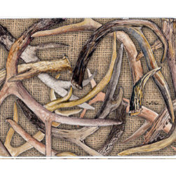 Caroline's Treasures - Deer Horns Kitchen Or Bath Mat 24X36 - Kitchen / Bath Mat 24x36 - 24 inches by 36 inches. Permanently dyed and fade resistant. Great for the Kitchen, Bath, outside the hot tub or just in the door from the swimming pool.    Use a garden hose or power washer to chase the dirt off of the mat.  Do not scrub with a brush.  Use the Vacuum on floor setting.  Made in the USA.  Clean stain with a cleaner that does not produce suds.