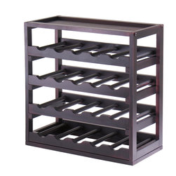 Winsomewood - Kingston, Stackable Removable Tray 20 Bottle Wine Cube - Storage is designed to stand alone or as a modular piece that is also stackable. This tray design holds 20 bottles is made of sturdy wood with espresso finish