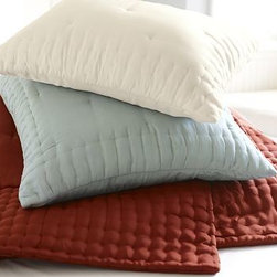 Olivia Silk Sham, Standard, Dark Porcelain Blue - Lustrous habotai silk brings year-round comfort and natural beauty to our Olivia Silk Quilt and Sham.100% habotai silk.Finished with a thick, box-quilted border that surrounds the tufted center.Quilted sham has a hidden zipper closure; insert sold separately.Dry-clean.Catalog / Internet Only.Imported.
