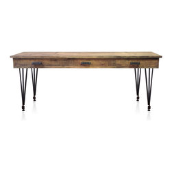 """Kingston Krafts - The Falmouth Reclaimed Wood Desk, Steel Hairpin Legs, 54"""" - Our Falmouth reclaimed desk is equally functional as a console or entry way piece. Just select the size that best suits your needs."""