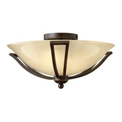 Hinkley Lighting - Hinkley Lighting HK-4660-OB Bolla Transitional Flush Mount Ceiling Light - The graceful lines of Bollas sweeping double arms create a soft elegance  while heavy cast spheres perched at the tips add to its innovative style. The strong proportions of the arms  offered in either Brushed Nickel  Olde Bronze or Brushed Bronze finishe