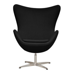 Inmod - Arne Egg Chair, Black - Innovative, comfortable and purely iconic design, the Arne Egg Chair is inspired by the classic Egg Chair designed by Arne Jacobsen.