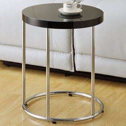 Monarch - Glossy Black / Chrome Metal Accent Table - To have or not to have just isn't an option! This handy glossy black finished accent table offers individuals a simple yet favorable way for placing drinks, snacks or meals while watching TV or chatting on the sofa. Its sturdy yet fashionable chrome metal base and tempered glass top provide exceptional support to this must-have piece!