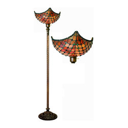 Warehouse of Tiffany - Tiffany-style Beaded Torchiere - This unique Red Beaded Torchiere has been handcrafted using methods first developed by Louis Comfort Tiffany.