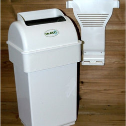 """Exaco - Mr. ECO Kitchen Composter - MR. ECO - Shop for Garden Equipment from Hayneedle.com! Additional featuresTumbler hides all previously collected wasteIdeal for collecting compostable materials100% Canadian pro-compost trash can100% recyclableIdeal for storing scraps before taking them to the compost pileOdorless and out of the way thanks to wall mountingEliminates the presence of insectsCould also be used for diapers or cat litter (but don't add these wastes to your compost pile)Includes 3 biodegradable bags (not necessary for use)Made in Canada2-year warranty The Mr. ECO Kitchen Composter is an excellent solution to save you a trip to the outdoor compost bin several times a day. After each meal simply put your kitchen scraps in the Mr. ECO Kitchen Composter and when its 10 liter capacity is reached you can empty into the compost pile. Adding items are easy and its innovative design that transfers compostable materials from one chamber to another ensures it's free of odors. Simply wrap your compostables in paper towels or newspaper and place them in the top bin. Turn the handle and this bin will flip transferring your scraps to the large bin area. Turn the handle again to """"close"""" and the odors are blocked inside. Not only is this composter made of recycled plastic but it's 100% recyclable as well."""