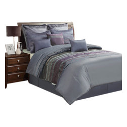 """Jenny George Designs - Jenny George 4 Pc Pieced Comforter Set With Iridescent Pleating - Full Size - Rainer 4 Piece Comforter Set with Iridescent Pleating, Full Size. Set Includes 1 Comforter, 2 Shams, 1 Bedskirt. Comforter Dimensions: 80"""" x 90"""". Standard Sham Dimensions: 21"""" x 27"""". Bedskirt Dimensions: 54"""" x 76"""" x 15"""". 100% Polyester. Dry Clean."""