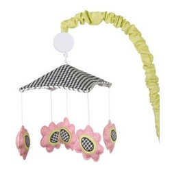 Cotton Tale - Cotton Tale Designs Poppy Musical Mobile - The Poppy musical mobile features bright pink poppies decorated with houndstooth under a houndstooth canopy, with a citrus green arm cover. It coordinates with the Cotton Tale Poppy crib bedding collection.