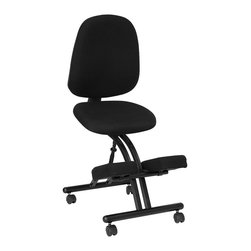 Flash Furniture - Ergonomic Kneeling Posture Office Chair with - Thick padded seat, back and knee rest provide firm support. Adjustable Back Angle. Adjustable Back Height. Adjustable Seat Height. Black fabric. Black powder coated steel frame. Dual wheel casters. This chair meets and/or exceeds ANSI/BIFMA standards. Back: 18 in. W x 21 in. H. Seat: 18 in. W x 17 in. D x 2 in.T. Knee: 19 in. W x 11 in. D x 2 in.T. Overall: 19 in. W x 32 in. D x 43 - 50 in. H (29 lbs.)