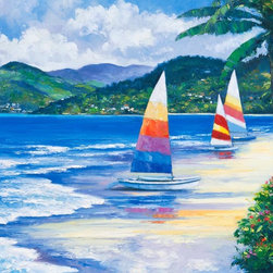 Murals Your Way - Seaside Sails Wall Art - Three small boats with brightly colored sails wait near the shore of a tropical island