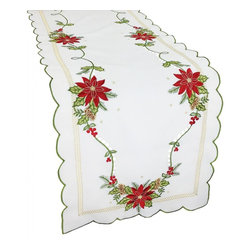 Xia Home Fashions - Scrolling Poinsettia Embroidered Cutwork Table Runner, 15x72 - Embroidered with hand rendered cutwork, scrolling Christmas poinsettias make this linens collection a great accent for any Christmas setting. Made from easy care poliviscose and machine washable! Machine wash cold water, no bleach, lay flat to dry. Steam iron as needed.