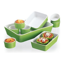 Home Essentials - Lime Green Ceramic Bakeware Set-Gift Boxed - If you are one of those who despise dish washing, treat yourself to this gift. The lime green 9 piece ceramic bake ware set is a must have for any serious chef that appreciates style and color too. Rich texture of the cookware set will enhance the beauty of your tabletop for serving and entertaining. Available in an array of colors, each individual piece can be used for baking, cooking, microwaving, serving, and storage too.   * Dimensions: Includes: 6 Ramekins and 3 casserole dishes.