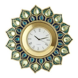 Peacock Gem Clock - Peacock lovers unite. This small plumage-inspired clock is meant for a desk or bedside table.