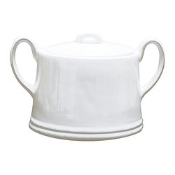 Rhone Sugar Bowl - Lidded and convenient, the chic Rhone Sugar Bowl shows the appeal of simplicity in your tea dishes. This transitional double-handled pot has the appealing difference of being slightly wider at the bottom, which also increases its capacity to keep you sitting and enjoying your cup of tea rather than repeatedly rising to replenish the serveware. Delicate beaded texture brings a naturalness to the white porcelain.