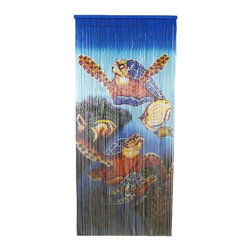 "Bamboo54 - Bamboo Tri Turtles - Bamboo54 tri turtles scene is made from authentic bamboo and hand strung. One curtain contains 90 strands across and is the perfect door hanging accessory. Hand painted on both sides. Measures approximately 36"" x 80"""