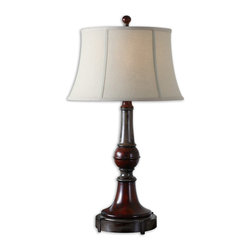 Uttermost - Bevin Solid Wood Table Lamp - Accent your living space with this intricately designed, wood-turned-table lamp. The distressed charcoal grey and dark mahogany are accented with burnished bronze highlights and topped with a bell-shaped, oatmeal-linen shade. Distressed never looked so good!