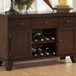 Homelegance - Ameillia Wine Server - Three drawers. Two doors. Built-in wine storage. Made from birch veneer. Dark oak finish. 52 in. W x 18 in. D x 33 in. H