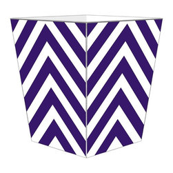 "Marye Kelley - Marye Kelley Purple Chevron Decoupage Wastebasket with Optional Tissue Box, 11"" - This is a handmade decoupage wastebasket with optional tissue box.  All items are handmade in the USA.  There are three different styles available.  There is the 12"" Fluted Tin Design, the 11"" Square Design with a flat top or the 11"" Square design with a scalloped top.  Coordinating tissue boxes may also be made. Please note all items are custom made and may not be returned."
