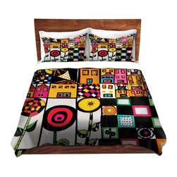 DiaNoche Designs - Duvet Cover Microfiber by Dora Ficher - Doodle Day - DiaNoche Designs works with artists from around the world to bring unique, artistic products to decorate all aspects of your home.  Super lightweight and extremely soft Premium Microfiber Duvet Cover (only) in sizes Twin, Queen, King.  Shams NOT included.  This duvet is designed to wash upon arrival for maximum softness.   Each duvet starts by looming the fabric and cutting to the size ordered.  The Image is printed and your Duvet Cover is meticulously sewn together with ties in each corner and a hidden zip closure.  All in the USA!!  Poly microfiber top and underside.  Dye Sublimation printing permanently adheres the ink to the material for long life and durability.  Machine Washable cold with light detergent and dry on low.  Product may vary slightly from image.  Shams not included.